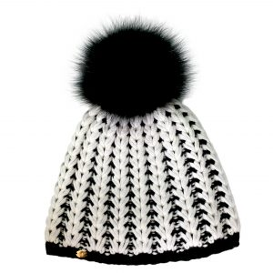 <strong>LIZA</strong><br>Cashmere Blend Hand-Knit Hat With Fur Pom Pom