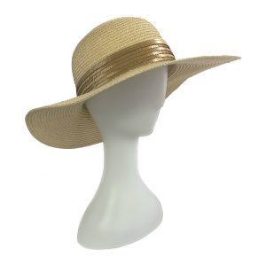 <strong>SAINT TROPEZ</strong><br>Straw Sunhat With Mat Sequins Band