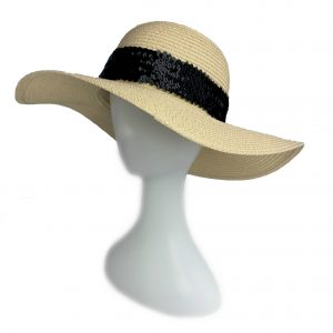 <strong>NOIRE</strong><br>Straw Sunhat With Black Sequins Band.