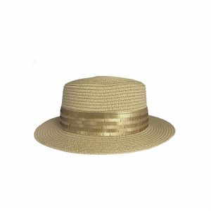 <strong>MARSHA</strong><br>Straw Sunhat With Mat Sequins Band.