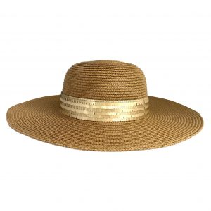<strong>SAINT TROPEZ</strong><br>Straw Sunhat With Mat Sequins Band.