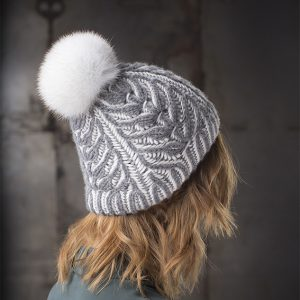 <strong>SOFIE</strong><br>Cashmere Hand-Knit Hat With Fur Pom Pom
