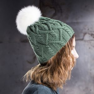 <strong>GALINA</strong><br>Cashmere Hand-Knit Hat With Fur Pom Pom