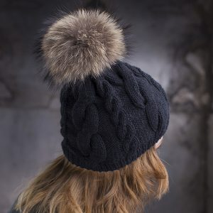 <strong>JULIE</strong><br>Cashmere Blend Hand-Knit Hat With Fur Pom Pom