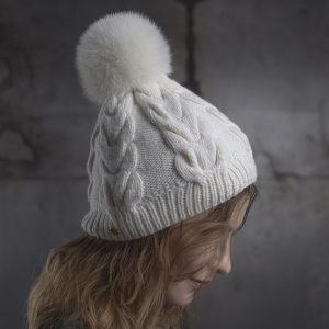 <strong>MARTA</strong><br>Cashmere Blend Hand-Knit Hat With Fur Pom Pom