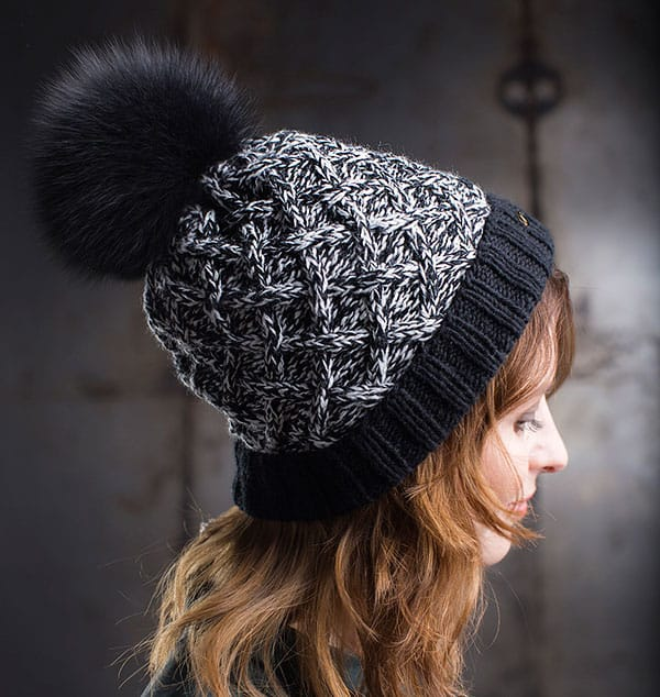 Cashmere Blend Hand-Knit Hat with Folded Brim and Fur Pom Pom 30b135c9737