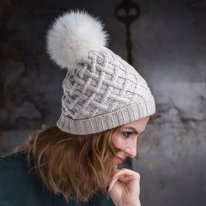 <strong>NINA SPORT</strong><br>Cashmere Blend Hand-Knit Hat with Folded Brim and Fur Pom Pom