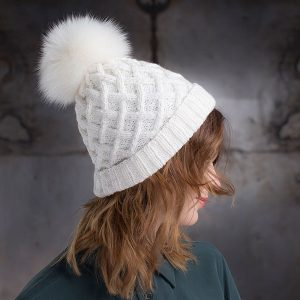 <strong>NINA SPORT</strong><br>Cashmere Hand-Knit Hat with Folded Brim and Fur Pom Pom