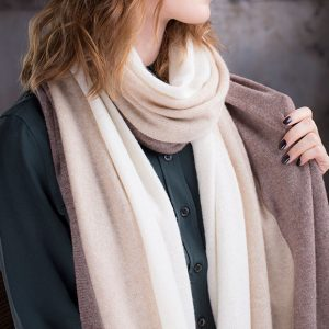<strong>Cashmere 3 Colors Shawl</strong><br>Ivory/Beige/Brown